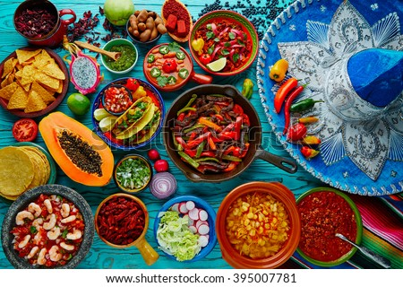Mexican food mix colorful background Mexico and sombrero - stock photo