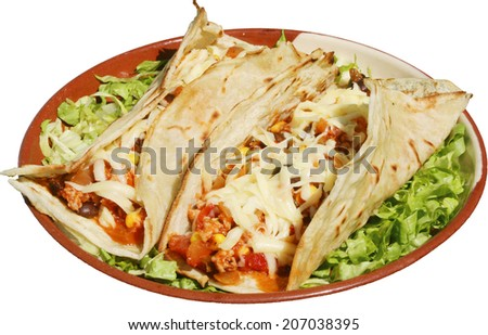 Mexican food served with cheese and green salad in traditional plate with tortillas - stock photo