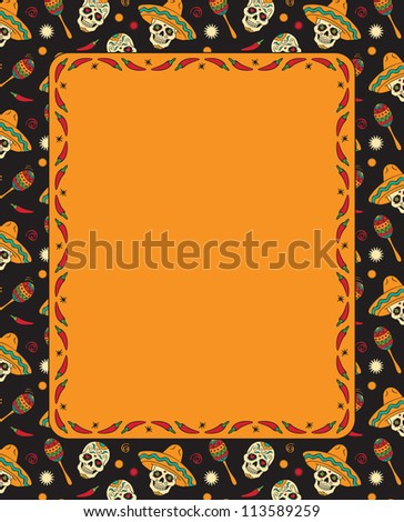 mexican frame with skulls raster version - Mexican Frame