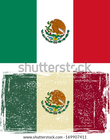 Mexican grunge flag. Raster version - stock photo