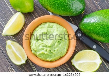 mexican guacamole - stock photo