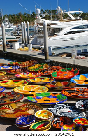 Mexican Handmade Art For Sale on the Marina in Cabo San Lucas - stock photo