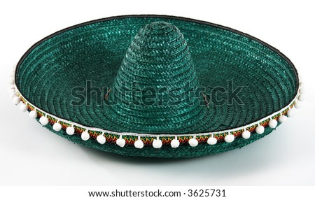 Mexican hat. Green sombrero isolated.