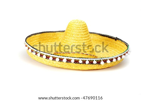 Mexican hat. Green sombrero isolated. - stock photo