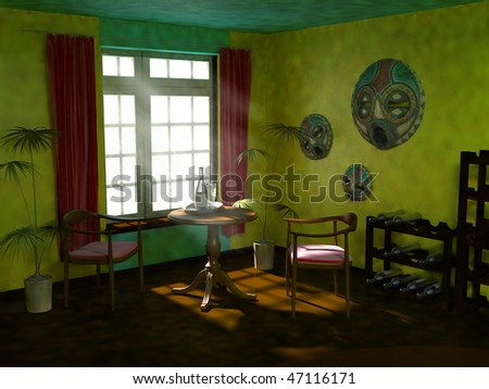 Mexican interior. 3d visualization - stock photo