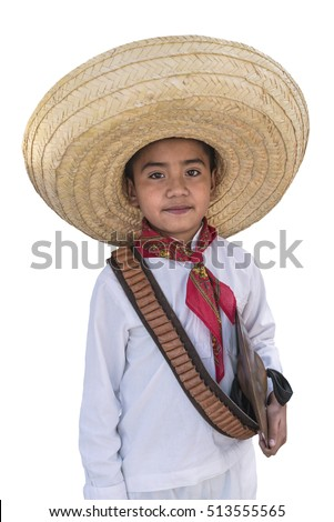 Mexican kid with clipping path. Cute Mexican boy wearing a traditional hat