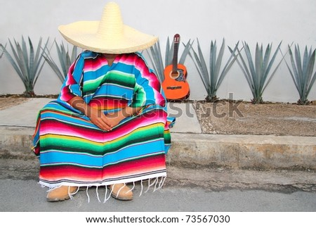 Mexican lazy man sit serape agave guitar nap siesta typical topic - stock photo