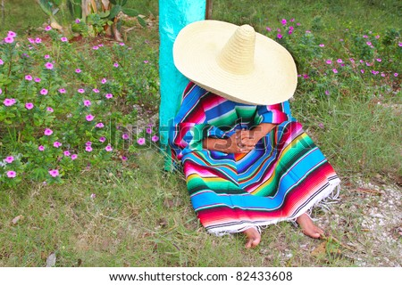 Mexican lazy typical sombrero hat man poncho having a nap in the garden - stock photo