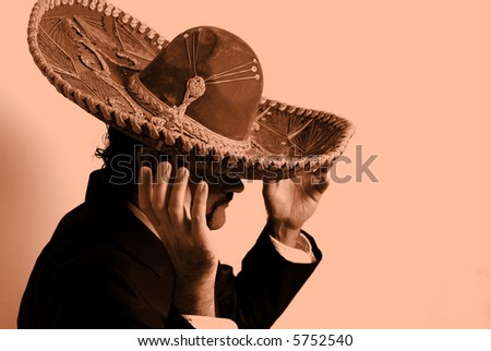 Mexican leaned in the wall - Background. - stock photo