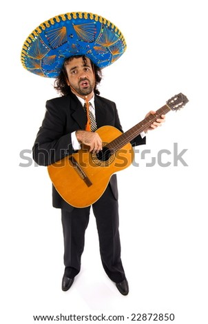 Mexican Man playing with wood guitar . - stock photo