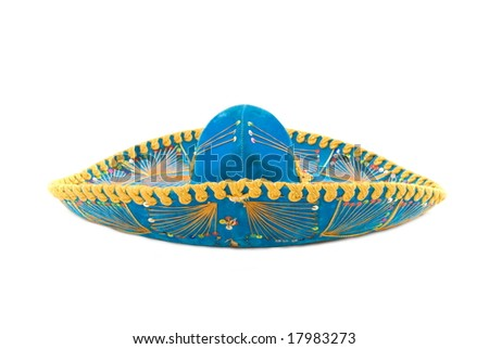 Mexican Mariachi hat on white background . - stock photo