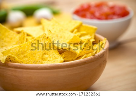 Mexican Nacho Chips and Salsa Dip arrangement on the Table