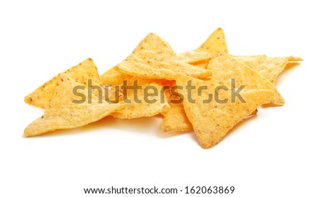 mexican nachos chips, isolated on white background - stock photo