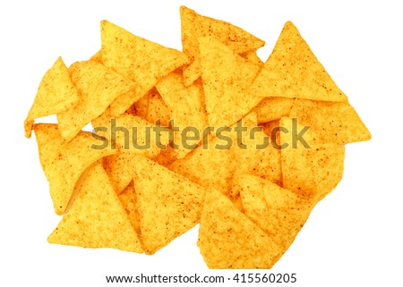 Mexican nachos, tortilla chips isolated on white background