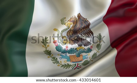 Mexican National flag waving in the wind 3d rendering - stock photo