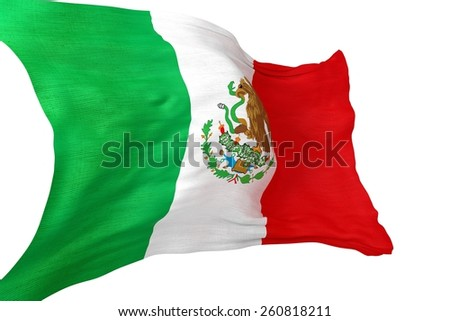 Mexican National Waving Flag 3D Isolated on White.