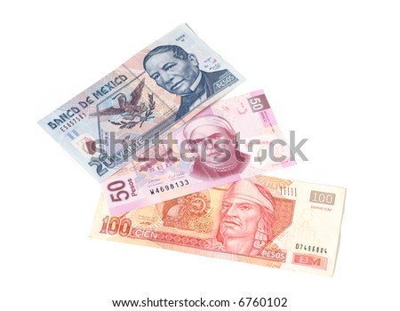 Mexican paper currency: bills of 20, 50 and 100 mexican pesos - stock photo