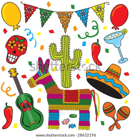 Mexican Party Fiesta Clip art individually grouped.  Great for Cinco de Mayo! - stock photo