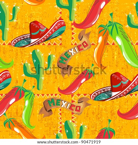 Mexican pattern with cactus, hat and chill illustration over grunge background. Useful for menu design. - stock photo