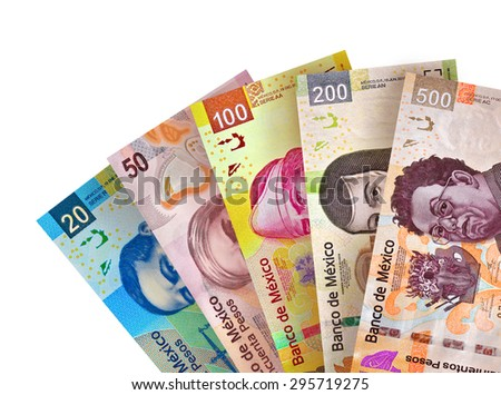 Mexican Peso Bills Background - stock photo