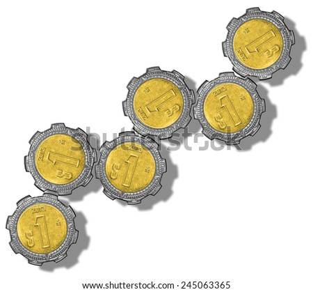 Mexican Peso Gears - stock photo