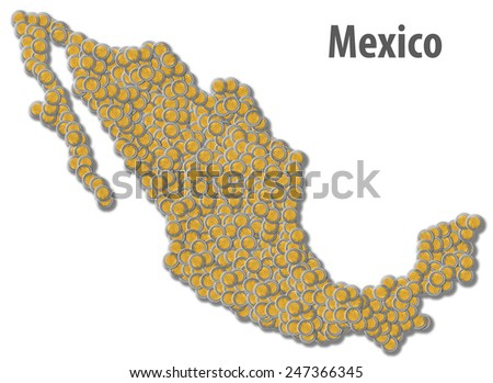 Mexican Peso Map - stock photo