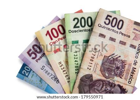 Mexican pesos, bills of 20, 50, 100, 200, 500 - stock photo