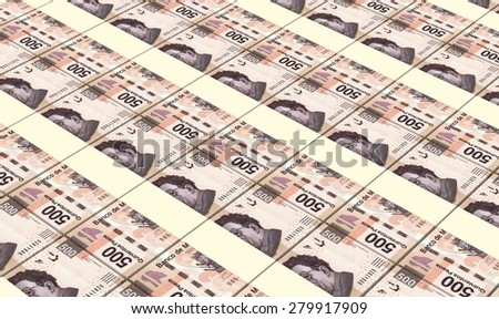 Mexican pesos bills stacks background. - stock photo