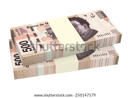 Mexican pesos isolated on white background. Computer generated 3D photo rendering. - stock photo