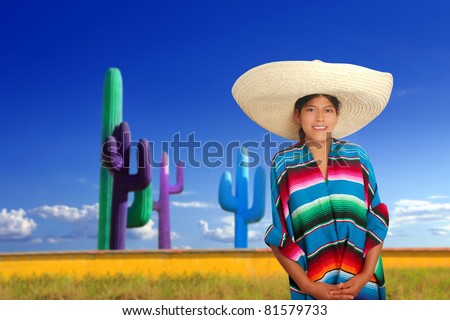Mexican poncho girl with big sombrero in cactus background of Mexico [Photo Illustration]
