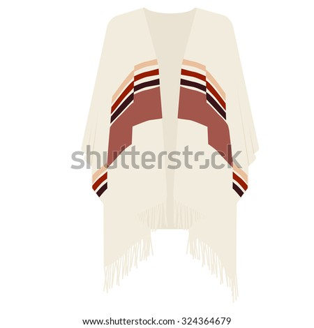 Mexican poncho raster illustration . Mexican clothes - stock photo