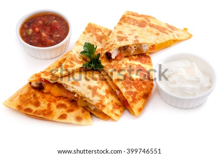 Mexican quesadillas with cheese, vegetables  - stock photo
