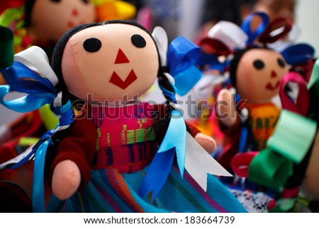 Mexican rag dolls. Beautifully hand crafted. Very shallow depth of field.