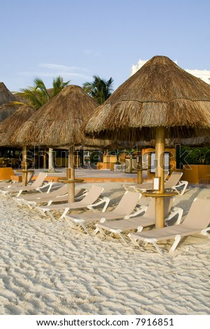 Mexican Resort with Beach Chairs Ready for Relaxation