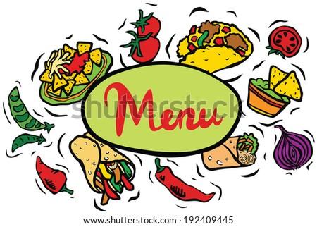 Mexican Restaurant Food Menu Sign - stock photo