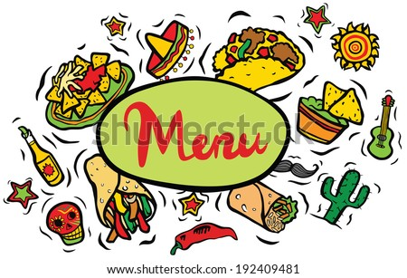 Mexican Restaurant Ingredients Menu Sign - stock photo