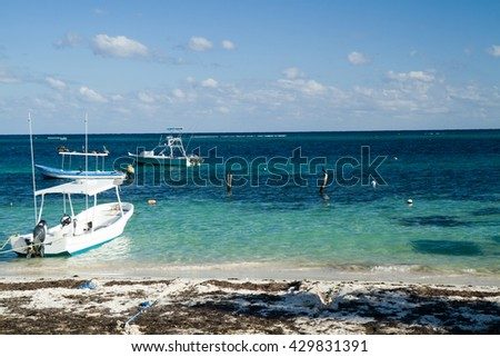 mexican riviera in mexico caribbean - stock photo