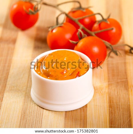 Mexican sauce made from totato paste and curry - stock photo