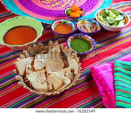 Mexican sauces pico de gallo habanero chili sauce Mexico spices - stock photo