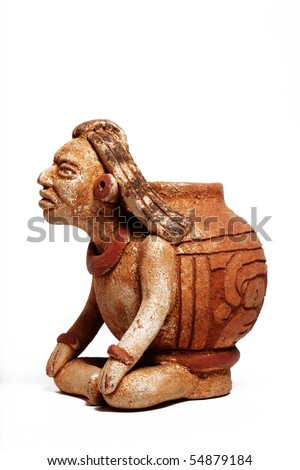 Mexican sculpture Maya isolated - stock photo