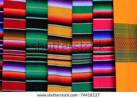 Mexican serape fabric colorful pattern texture background - stock photo
