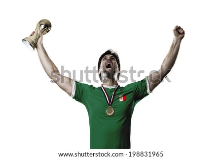 Mexican soccer player, celebrating the championship with a trophy in his hand. On a white background. - stock photo