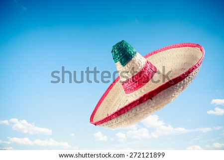 Mexican sombrero in a blue sky - stock photo
