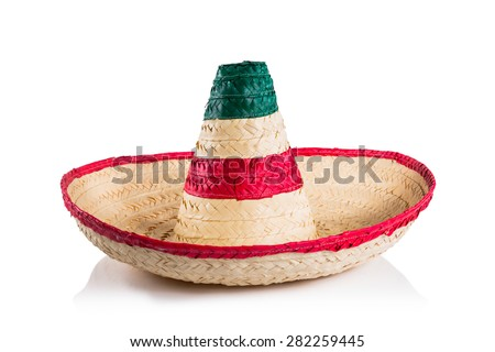 Mexican sombrero in white background - stock photo