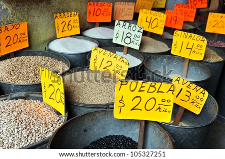 Mexican spice in a spice shop located in the mexican food market Mexico City, Mexico. - stock photo