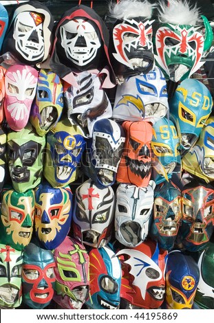 Mexican stand selling masks - stock photo