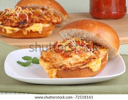Mexican style grilled chicken sandwich with melted cheese and salsa