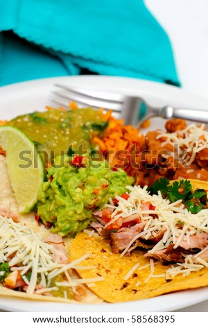 Mexican style meal of Pork Carnitas soft tacos with refried beans, Spanish rice topped with fresh salsa verde and spicy guacamole. - stock photo