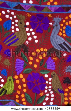 Mexican Tablecloth blanket for sale in a market in Chiapas, Mexico - stock photo