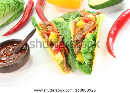 Mexican tacos with beef - stock photo